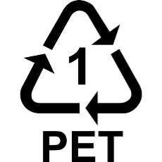 Simbolo del riciclo per il PET